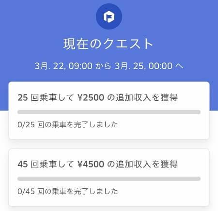 Uber Eats(ウーバーイーツ)配達アプリの日またぎクエストインセンティブ画面