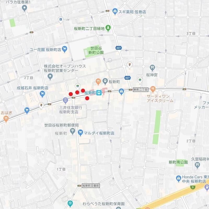 桜新町エリアマップ画像