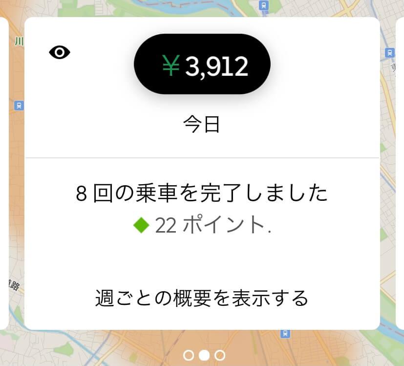 Uber Eatsドライバーアプリ報酬画面