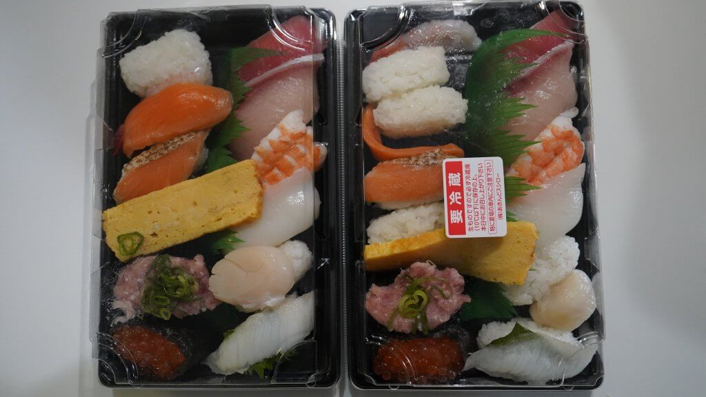 ウーバーイーツで注文した寿司(テスト後)