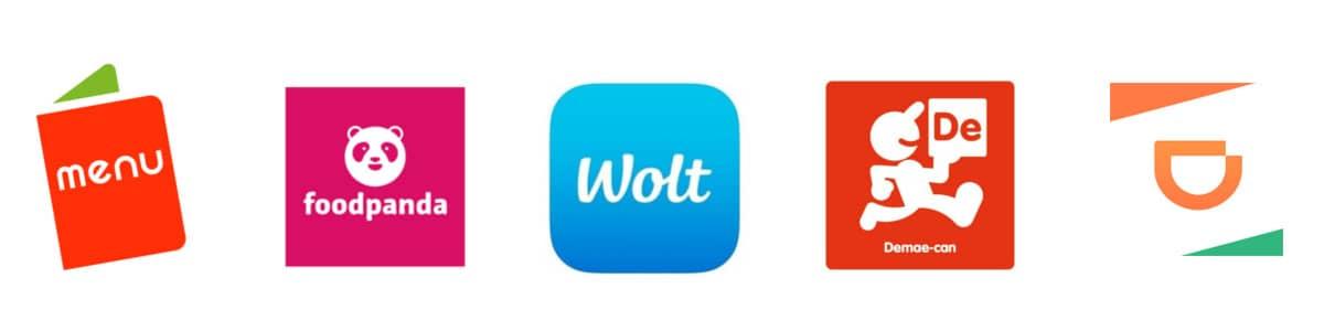 ウーバーイーツ以外(menu、foodpanda、wolt、DiDiフード、出前館)のフードデリバリーアプリロゴ