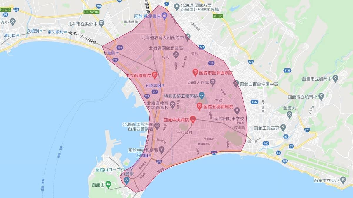 Uber Eats(ウーバーイーツ)が函館エリアマップ