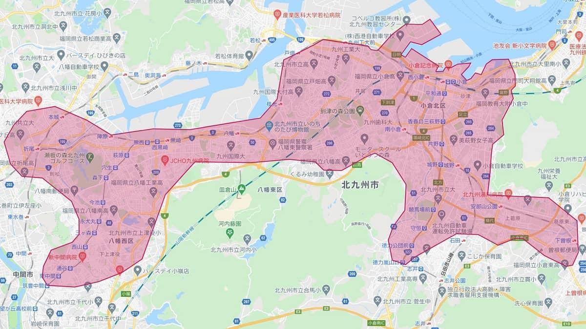 ウーバーイーツ北九州エリアマップ