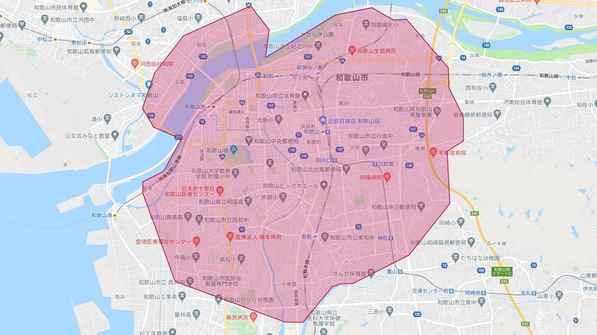 Uber Eats(ウーバーイーツ)和歌山エリアマップ画像