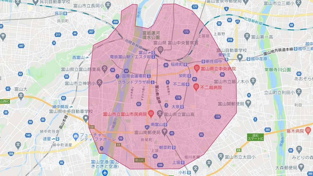 Uber Eats(ウーバーイーツ)富山エリアマップ画像