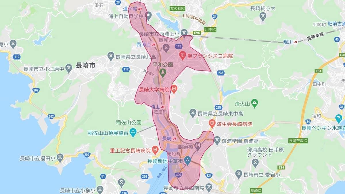 Uber Eats(ウーバーイーツ)長崎エリアマップ画像