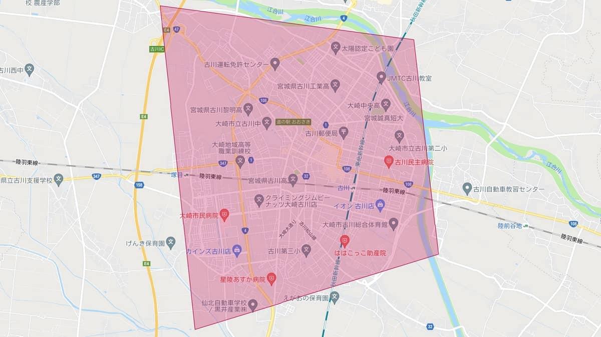 宮城県古川市のDoorDash(ドアダッシュ)エリアマップ画像