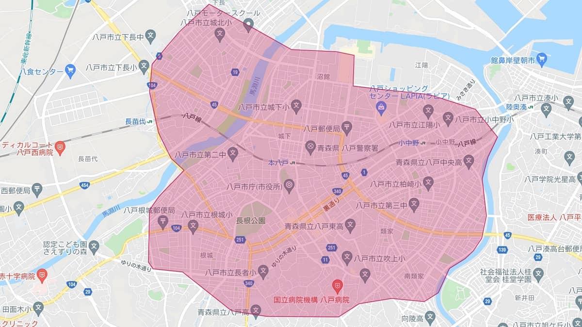 Uber Eats(ウーバーイーツ)八戸市のエリアマップ