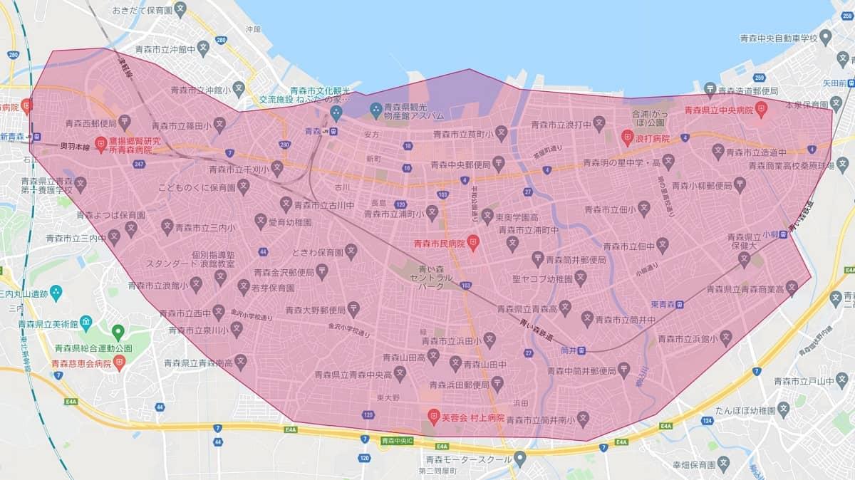 Uber Eats(ウーバーイーツ)青森市のエリアマップ