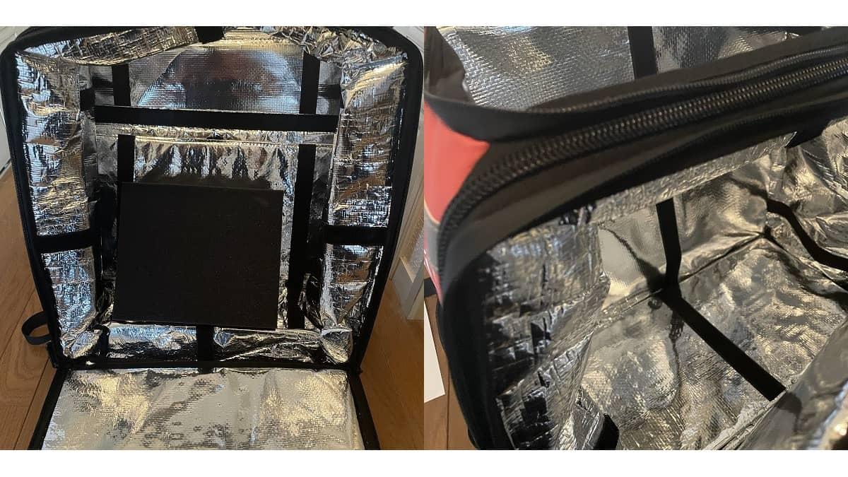 DiDiフード配達バッグの内部画像