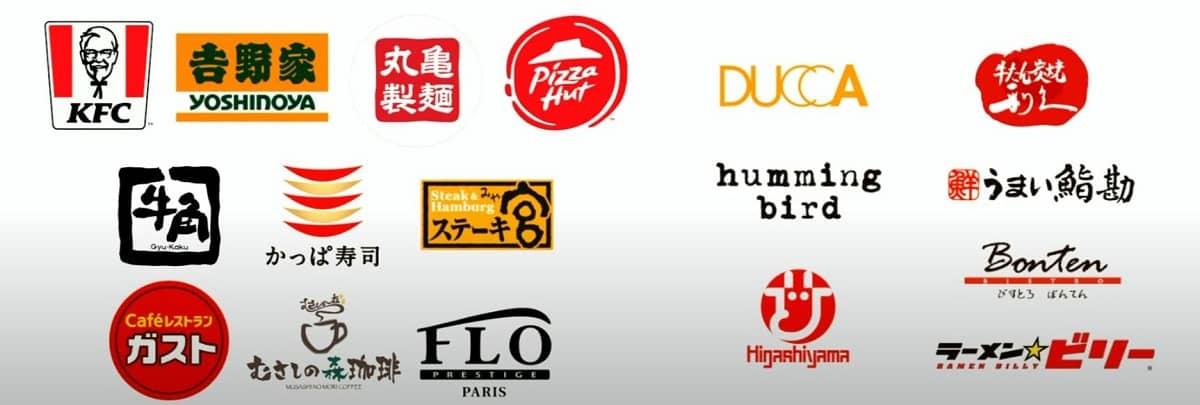 DoorDash(ドアダッシュ)仙台の主な加盟店ロゴ一覧の画像