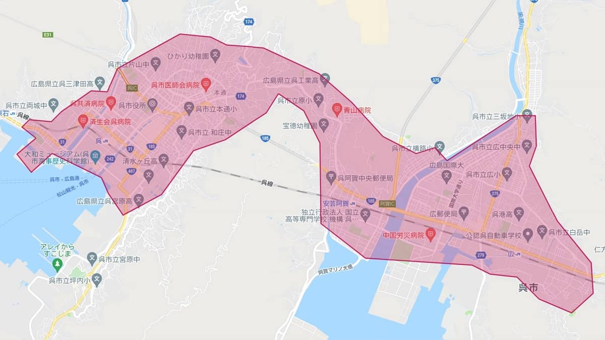 Uber Eats(ウーバーイーツ)呉エリアマップ