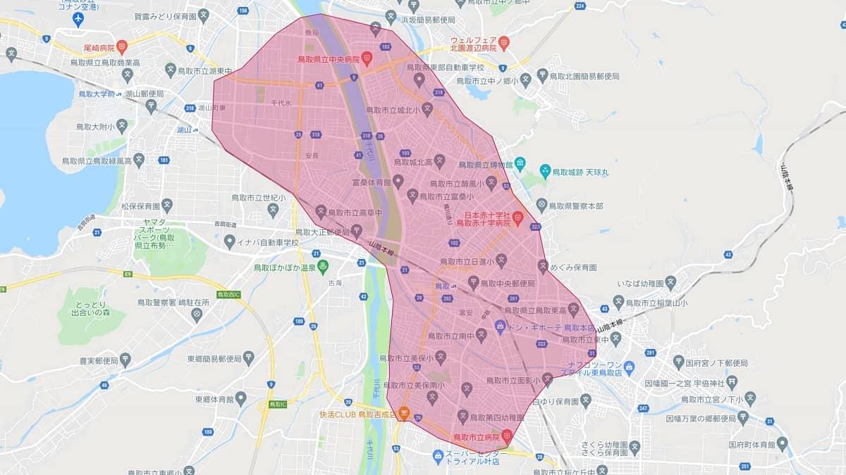 ウーバーイーツ鳥取エリアマップ